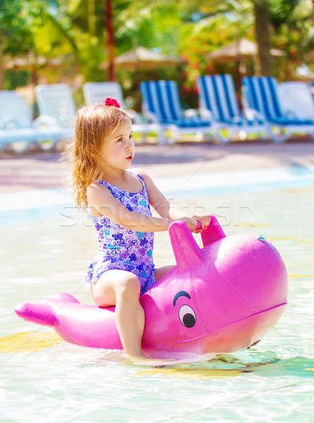 Little girl have fun in aquapark Stock photo © Anna_Om