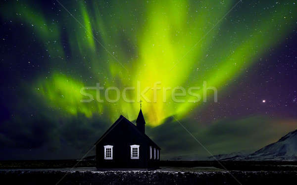 Beautiful Northern light over church Stock photo © Anna_Om