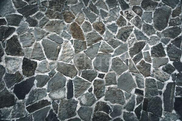 Muro di pietra grigio mattone recinzione esterna costruzione Foto d'archivio © Anna_Om