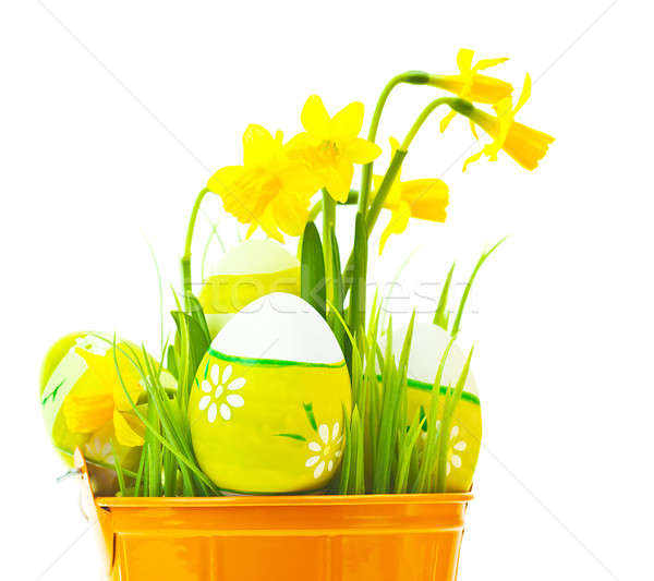 Easter eggs with flowers Stock photo © Anna_Om