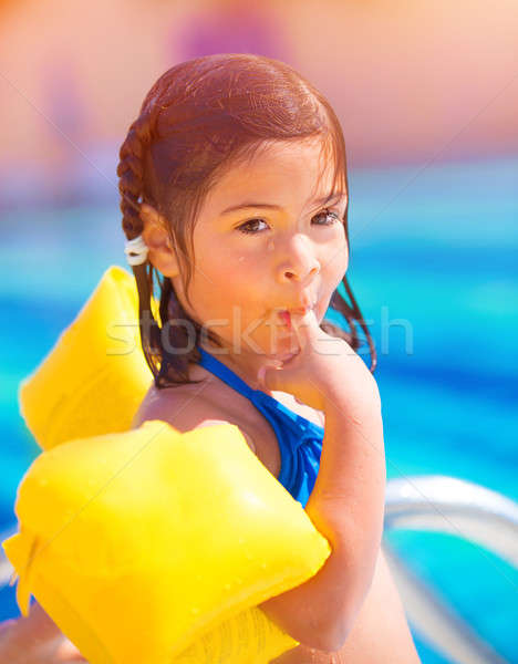 Small girl in poolside Stock photo © Anna_Om