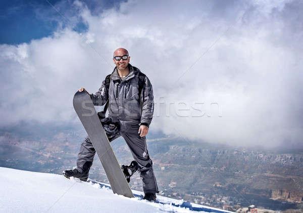Férfi snowbordos hegyek aktív életstílus verseny Stock fotó © Anna_Om