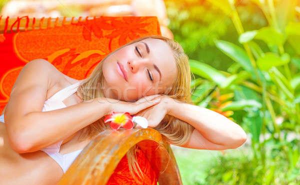Vrouwelijke genieten zomer vakantie mooie tropische Stockfoto © Anna_Om