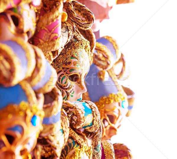 Belo veneziano máscaras abstrato fronteira Foto stock © Anna_Om