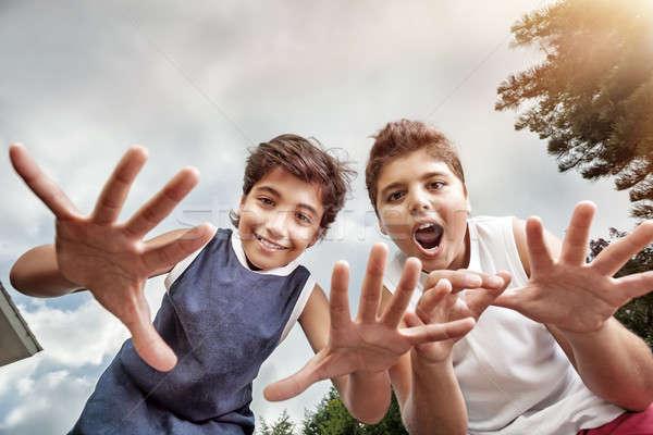Dos feliz ninos aire libre Foto stock © Anna_Om