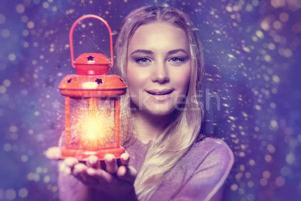 Mooie vrouw lantaarn portret hand Stockfoto © Anna_Om