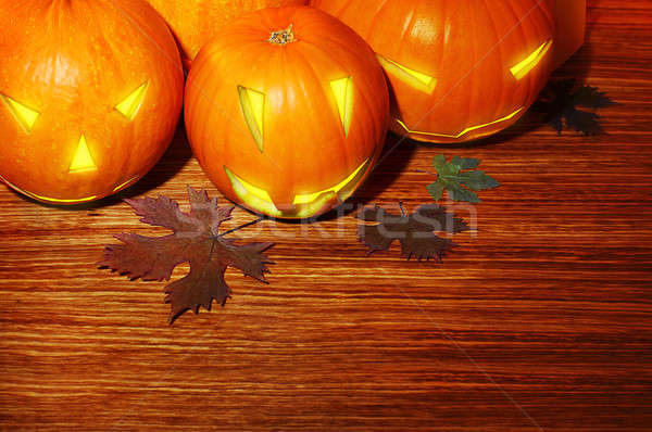 Stockfoto: Halloween · pompoenen · grens · warm · kaars