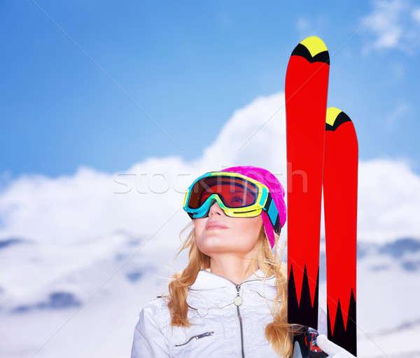 Skieur portrait cute fille Photo stock © Anna_Om