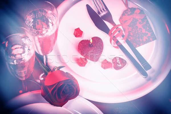 Foto d'archivio: Tavola · san · valentino · bella · san · valentino · giorno