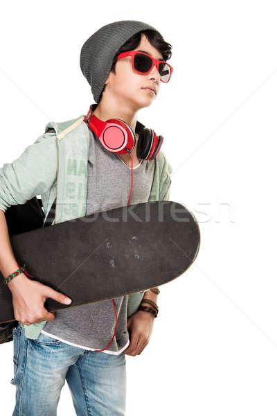 скейтбордист белый Cute подростков мальчика Сток-фото © Anna_Om