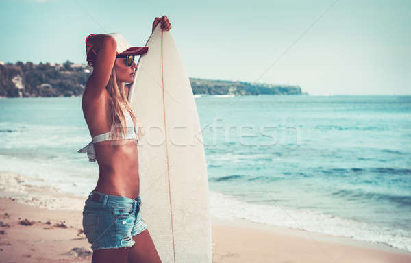 Sportive woman with surfboard Stock photo © Anna_Om