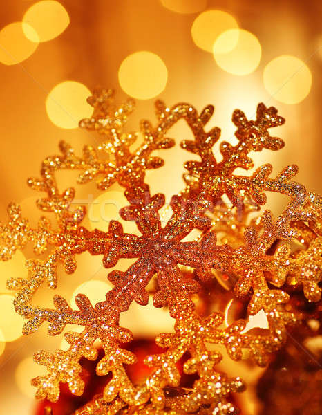 Stock photo: Golden snowflake Christmas tree decorations