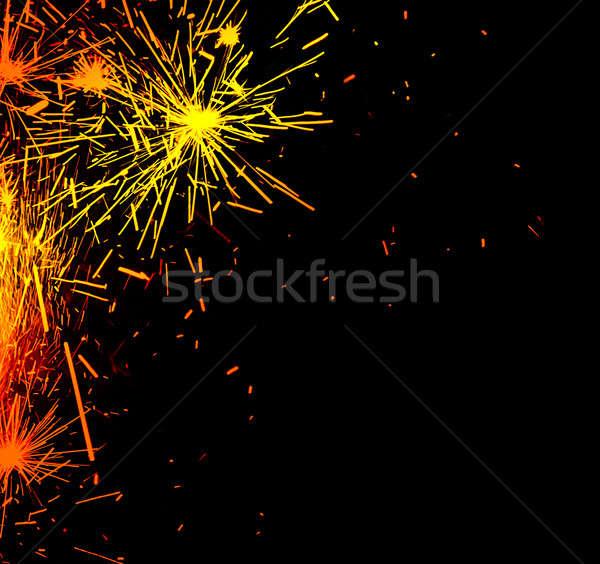 Fényes keret tűzijáték szikrák izolált fekete Stock fotó © Anna_Om