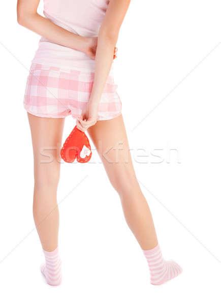 Mutsuz sevmek resim genç kadın kırmızı kalp Stok fotoğraf © Anna_Om