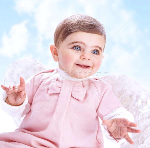Kicsi angyal égbolt menny imádnivaló kislány Stock fotó © Anna_Om