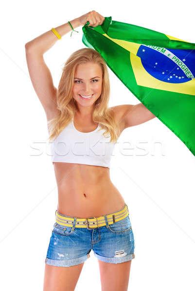 Foto stock: Futebol · equipe · retrato · mulher · atraente