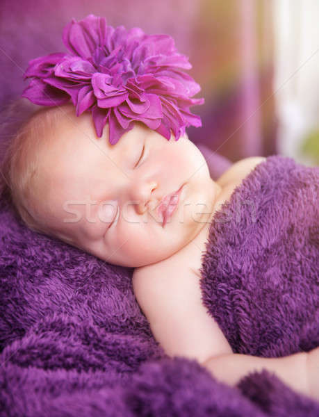 Cute pasgeboren meisje slapen portret weinig Stockfoto © Anna_Om