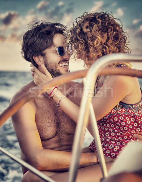Szerető pár vitorlás kettő boldog szerelmespár Stock fotó © Anna_Om