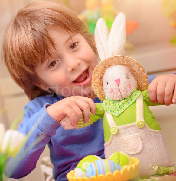 Happy boy with Easter bunny Stock photo © Anna_Om