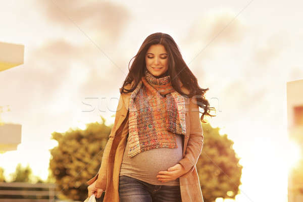 Beautiful pregnant woman with shopping bags Stock photo © Anna_Om