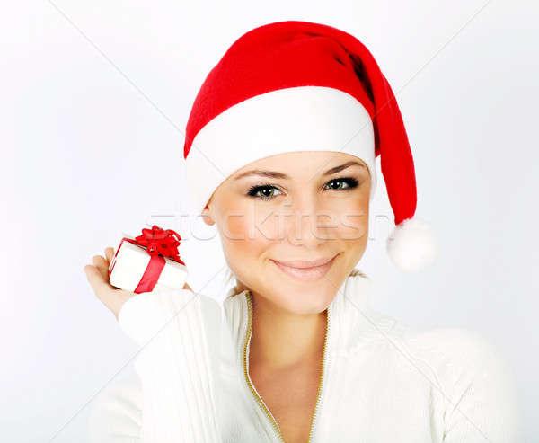 Stock photo: Pretty Santa girl closeup portrait