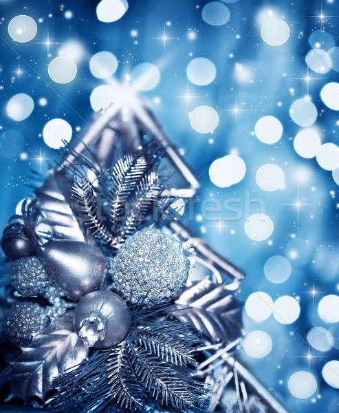 Stockfoto: Mooie · zilver · kerstboom · decoratie · Blauw