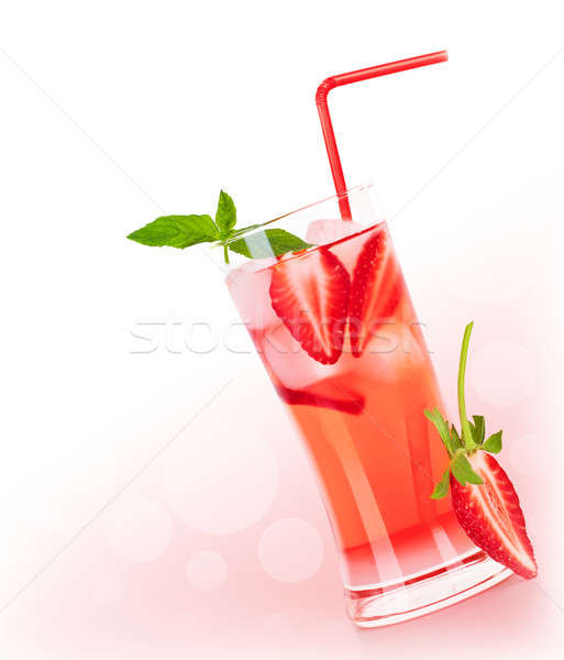 Red fruity cocktail border Stock photo © Anna_Om