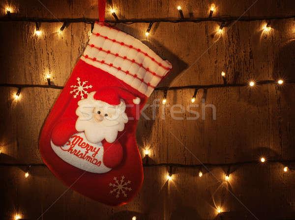 Traditioneel christmas sok foto Rood opknoping Stockfoto © Anna_Om