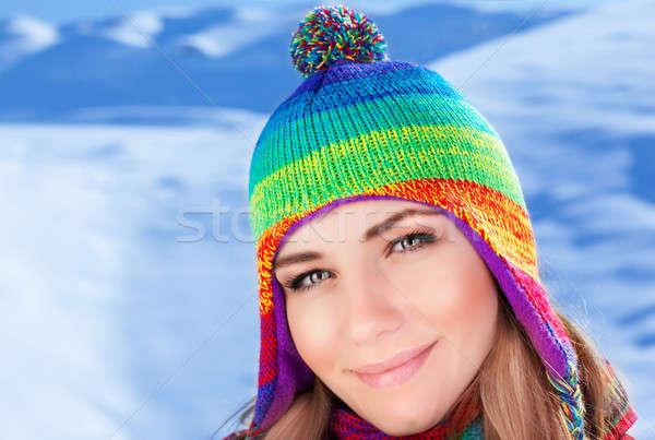 Foto stock: Mulher · bonita · foto · montanhas · retrato