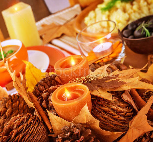 Thanksgiving day table decor Stock photo © Anna_Om