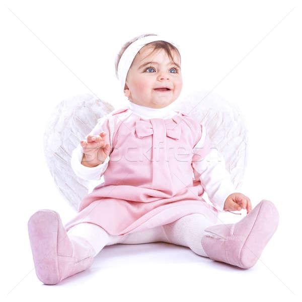 Angyali baba ül stúdió izolált fehér Stock fotó © Anna_Om