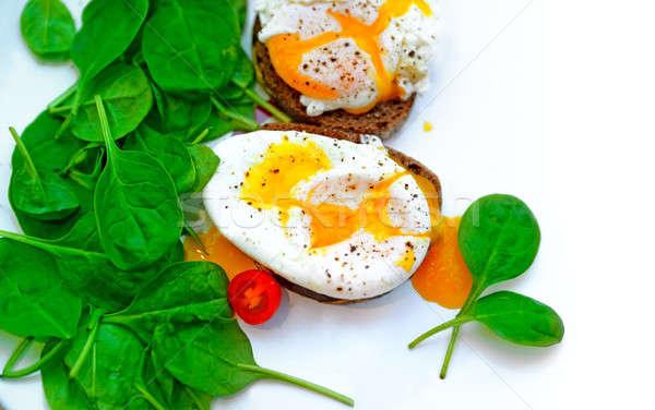 Tasty poached eggs Stock photo © Anna_Om