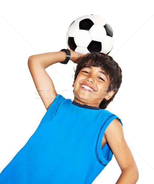 Stock fotó: Aranyos · fiú · játszik · futball · boldog · gyermek