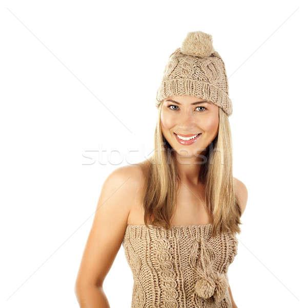 Stockfoto: Mooie · vrouw · winter · hoed · foto · beige