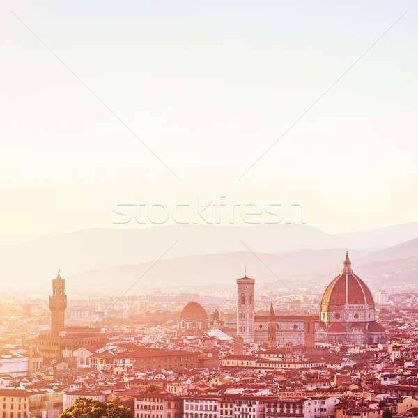 Coucher du soleil paysage FLORENCE incroyable cityscape cathédrale Photo stock © Anna_Om