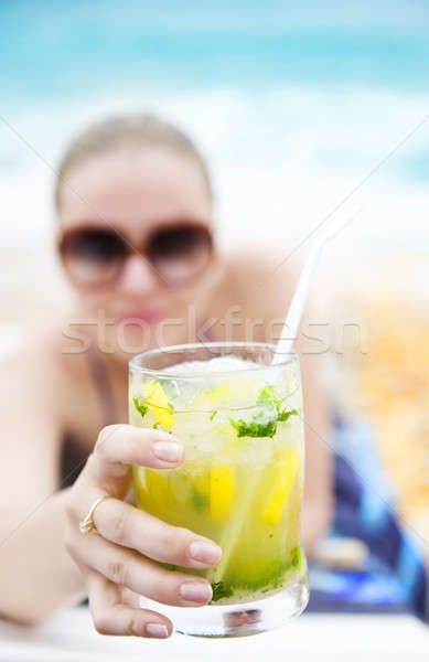 Closeup on cold refreshing cocktail Stock photo © Anna_Om