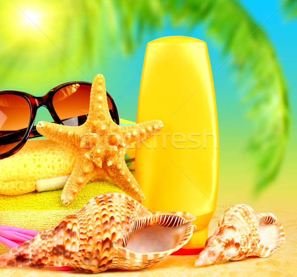 Zomertijd vakantie strand objecten zand leuk Stockfoto © Anna_Om