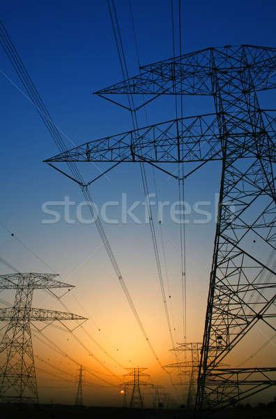 Elektriciteit leveren bouw technologie frame veld Stockfoto © Anna_Om