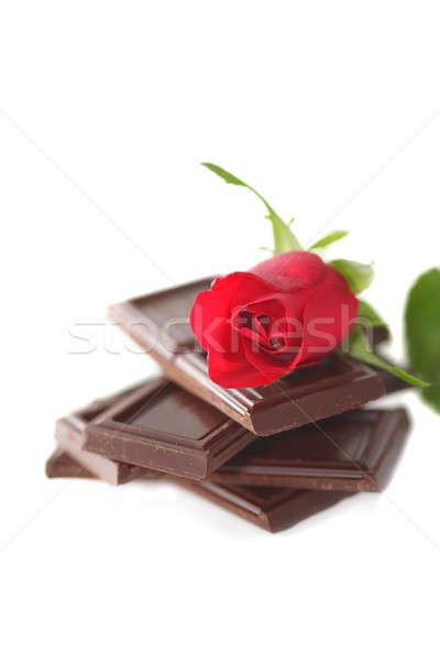 Stok fotoğraf: Kırmızı · gül · çikolata · beyaz · gül · doğa · güzellik