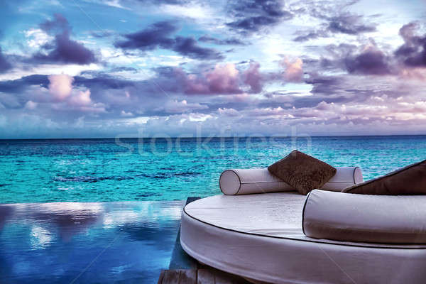 Luxe plage Resort belle confortable blanche Photo stock © Anna_Om