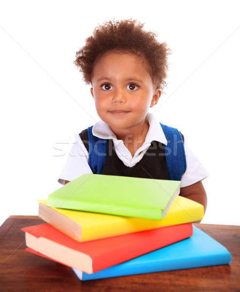 Aranyos kicsi iskolás fiú portré fiú visel Stock fotó © Anna_Om