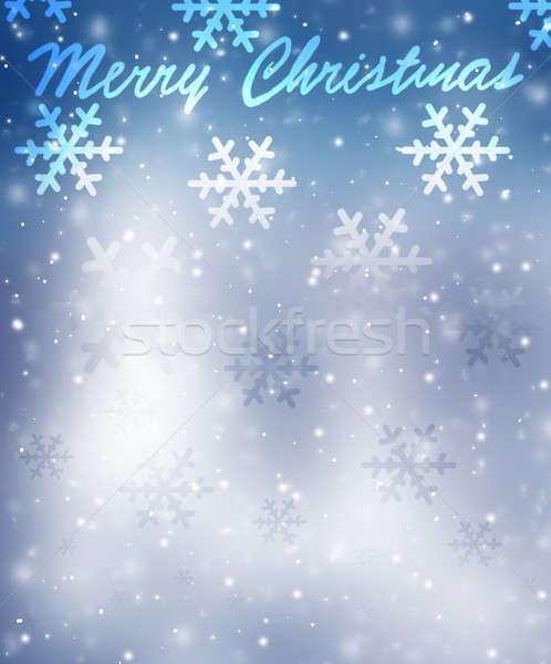Wesoły christmas kartkę z życzeniami piękna niebieski płatki śniegu Zdjęcia stock © Anna_Om