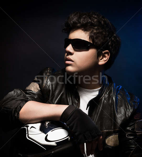 Stylish biker portrait Stock photo © Anna_Om