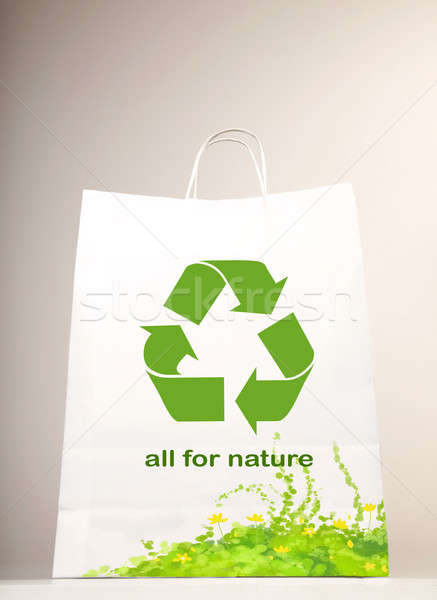 Recycler symbole panier herbe nature fond Photo stock © Anna_Om