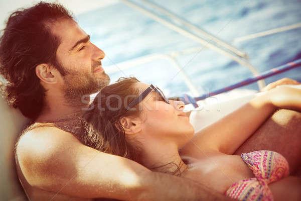 Stockfoto: Paar · ontspannen · zeilboot · vreedzaam · dek