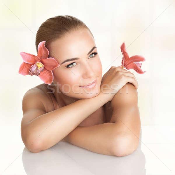 Pretty girl enjoying dayspa Stock photo © Anna_Om