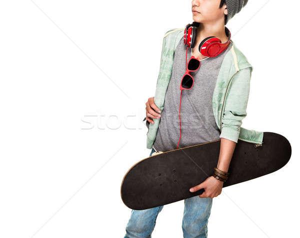 скейтбордист белый подростков мальчика Сток-фото © Anna_Om