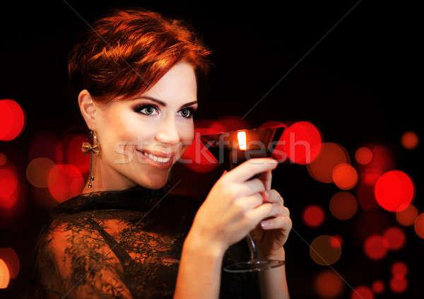 Beautiful female partying, celebrating holiday Stock photo © Anna_Om