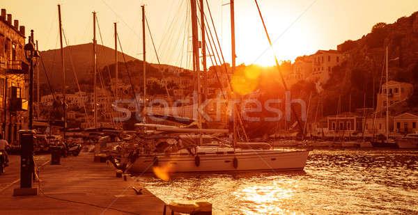 Vela porto tramonto luce yacht porta Foto d'archivio © Anna_Om