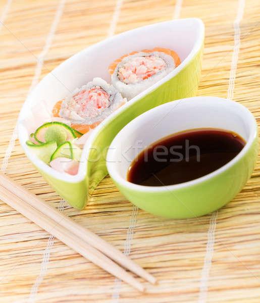 Fresche gustoso sushi bambù tovaglia lusso Foto d'archivio © Anna_Om